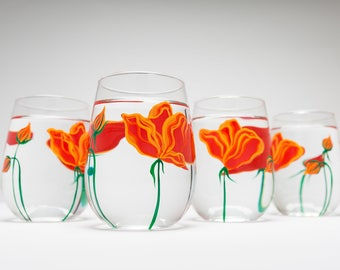 Hand Painted Wine Glasses - Orange Poppies Stemless Wine Glasses  - Mothers Day Gift - Set of 4 Stemless Glasses, California Poppies, Mom