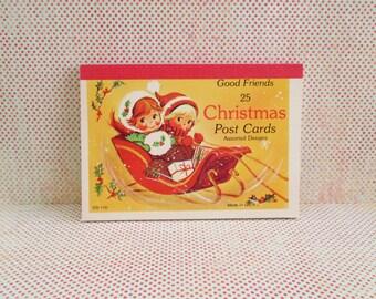 24 Vintage Unused Christmas Post Cards - Good Friends