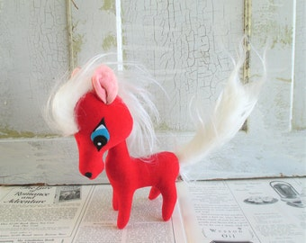 Cute Vintage Kamar Japan Red Stuffed Pony