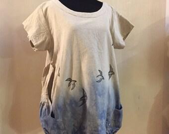 Freebird Tunic - ONE SIZE fits M-XXL, fair trade cotton handmade tunic, swallow print, eco friendly shirt, nomad clothing, Womens plus size