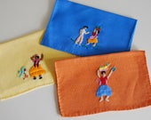 Embroidered Cocktail Napkins, Cotton Mini Napkins, Mexican Table Linens, Orange Blue Yellow, Hand Embroidery Folk Art, 1950s Textiles
