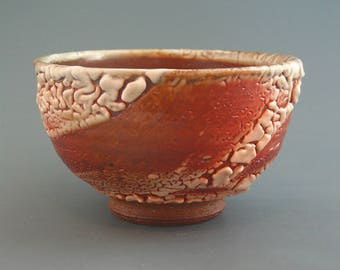 Bowl, wood-fired iron rich stoneware with crawling shino and natural ash glazes