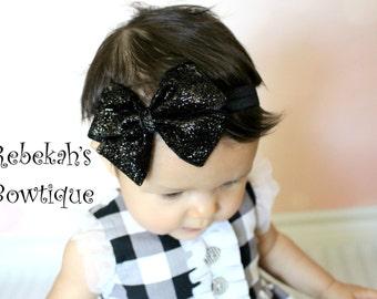 Black glitter headband, Christmas baby headband, sparkle headband, hair bows for girls, baby hairbows, Bling hair bows, Holiday headband bow