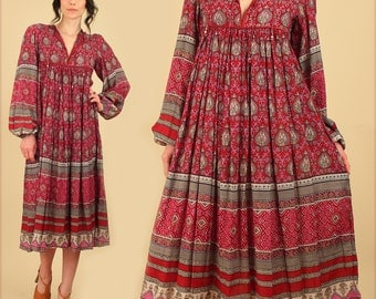 ViNtAgE 70's Indian Dress Gauze Cotton // Rare MAXI Bohemian Dress // India Festival Dress // Hippie BoHo Gypsy Tribal S/M