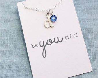 Personalized Initial Birthstone Necklace | Typewriter Initial | Personalized Jewelry | Monogram | Swarovski | Sterling Silver | X03
