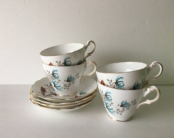 Tea Cup and Saucer Service for Four Regency English Bone China Whispy Blue and Tan Floral