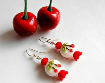 Cherry Earrings - Cherry Lampwork Glass - Rockabilly Cherry Earrings - Rockabilly Earrings - Rockabilly Jewelry - Cherry Jewelry