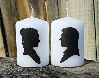 Princess and Han Inspired Silhouette 2x3 Pillar Candle Set