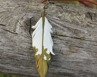 Pearly Moss Leather Feather Necklace - 3-inch White and Green Gold Leather Pendant