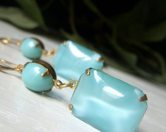 Aqua Glass Earrings, Brass Dangle, Vintage Aqua Blue Earrings, Vintage Style Earrings, Aqua Silk Glass Earrings, Rectangle Dangle Earrings