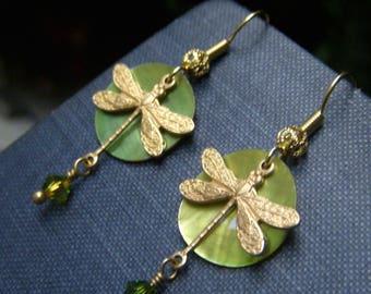 Dragonfly Earrings, Green Dragonfly Shell Earrings, Lightweight Earrings on Brass, Lime Green Earrings, Insect Earrings, Lime Green Dangle
