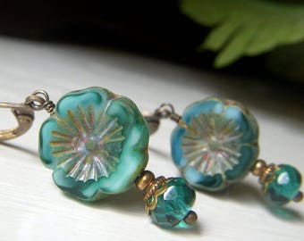 Teal Floral Earrings, Czech Glass Earrings, Brass Flower Earrings, Czech Glass Beads, Blue Green Glass Dangle Earrings