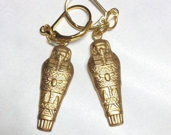 Mummy sarcophagus earrings Egyptian Pharaoh handmade raw brass for pierced ears nickel free