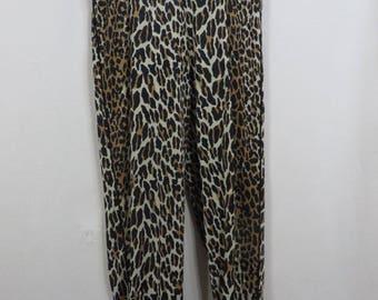 Vintage 50s Vanity Fair Leopard Slim Pants  Ultra High Waist Rockabilly VLV Pinup 1950s Bombshell Capris Nylon Lingerie Lounge