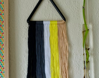 CLEARANCE / Wall Art / Embroidery Thread / Tassel Tapestry / Grey Black Yellow / Glass Wall Decor / Lampwork / Ready to Ship #591