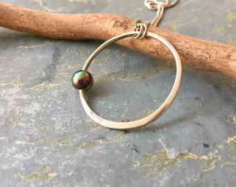 Sterling Silver Circle with Pearl Necklace, Rainbow Pearl Silver Circle Pendant, Minimalist Silver Necklace with Freshwater Pearl