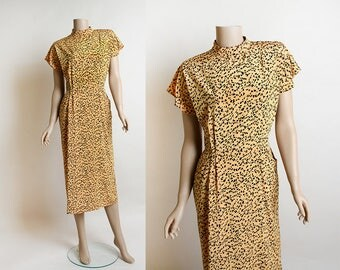 Vintage 1940s Style Dress - 1980s does 40s Cheetah Print Draped Pocket Dress - Mustard Yellow and Black Animal Print Dress - Small Medium