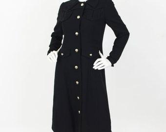 Arkay c.1970 Vintage Chic Mod Black Wool Crepe Silver Button Coat Sz S