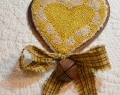 Primitive Punch Needle Rusty Heart Ornament -  YELLOW with Homespun Bow