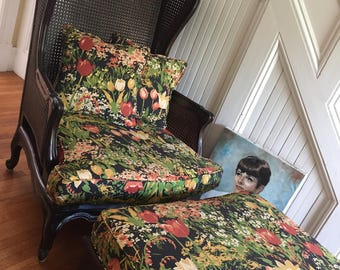 WING CHAIR and OTTOMAN Vintage French Bergere c1970s Dark Carved Chippy Wood Cane Original Floral Fabric New Cushion Filling Retro Bohemian