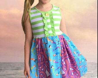 Mermaid dress, beach dress Momi boutique custom girls dress