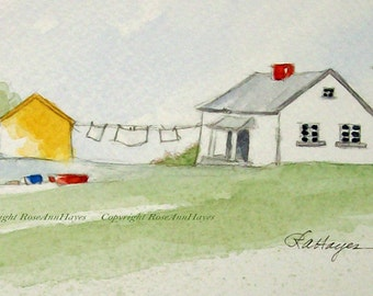 Laundry Day in the Country Laundry Room Wash Day Original Watercolor Painting Art Cottage Clothesline Gift