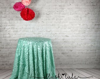 MERMAID MINT Square Sequin on Tulle Tablecloth Overlay, Dessert Table, Cake Table, Wedding, Event, Decor