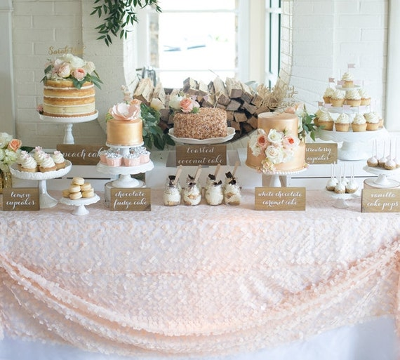 decorating wedding cake table with tulle items similar to blush pink apricot sequin on tulle 13421