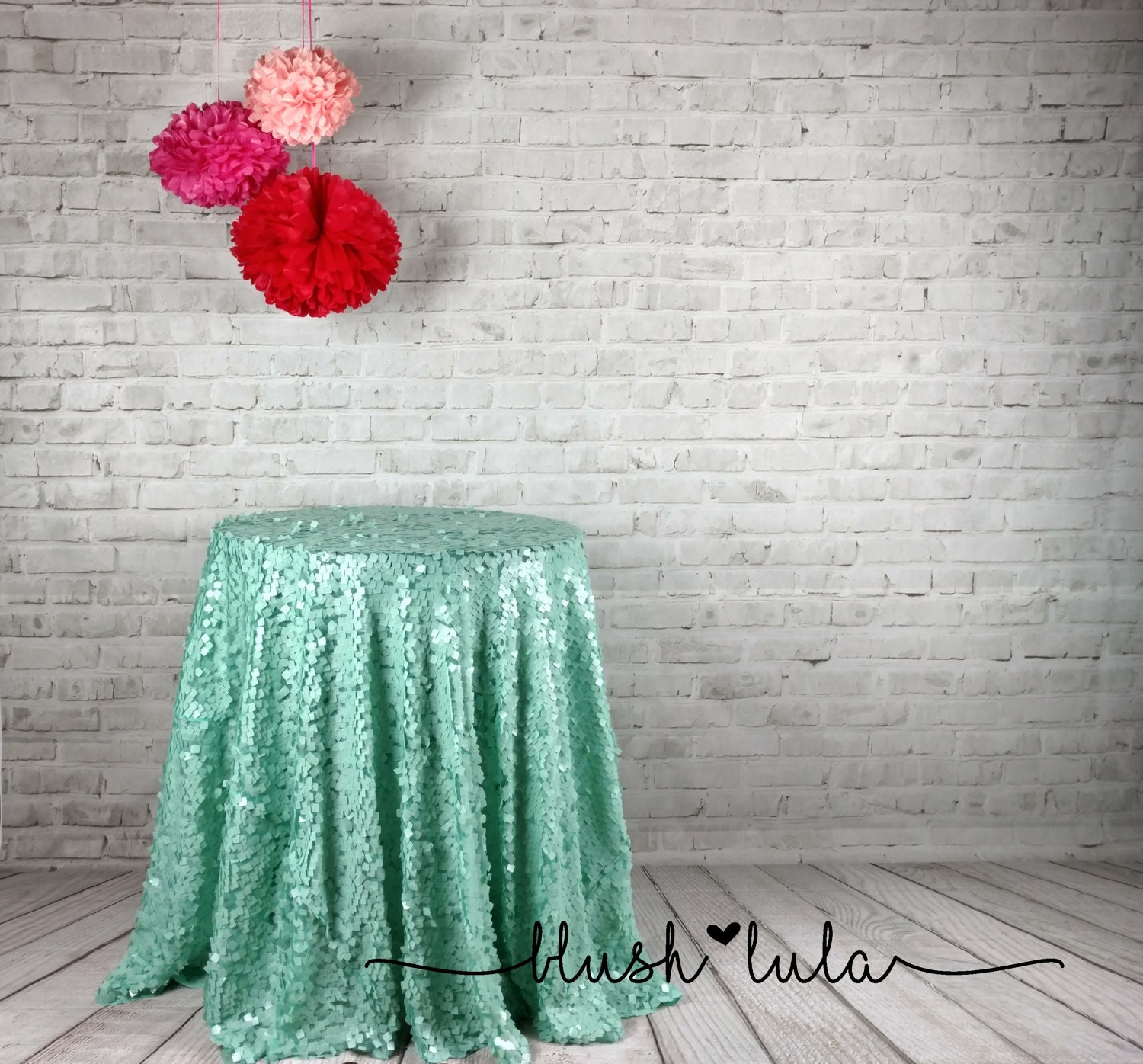 Mermaid Mint Square Sequin On Tulle Tablecloth Overlay