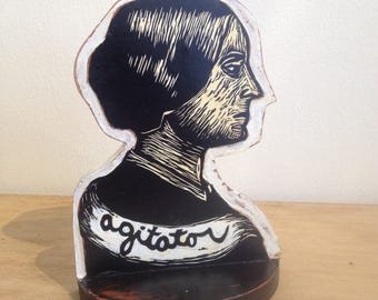 Susan B. Anthony Book End, Linocut Print,  Agitator, Suffragette Art, Linocut Print Wall Art, Linocut, Wooden Bookend