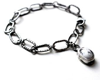 White Buffalo Turquoise Textured Chain Link Sterling Silver Bracelet | Boho Rustic Modern  | GUGMA Women's Minimalist Jewelry