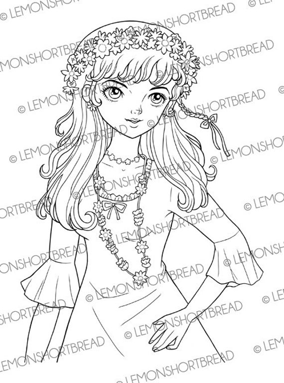 Digital Stamp Flower Power Girl, Digi Summer Spring, 60s Fashion Floral, Coloring Page, Retro Style Scrapbooking Supplies, Instant download