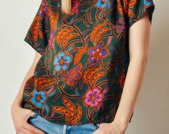 Vintage Floral Silk Top