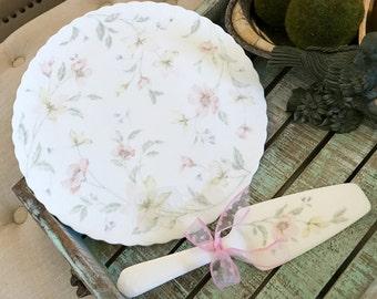 Mikasa Bone China Raised Cake Plate with Cake Server Pastel Garden Spring Floral Design Pink Wedding Farmhouse Chic Easter TYCAALAK