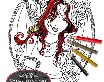Abby - Coloring Page - Gothic Fairy Art - Digital Download - Reptile Faerie - Myka Jelina Art -  Big Eyed - Snake