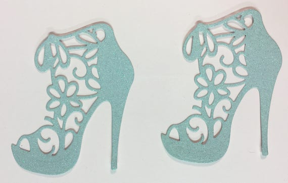 High Heel Shoe Glitter Die Cut Flower Lace Light Baby Blue Elegant Feminine Embellishment Scrapbook Greeting Card Art Craft Mixed Media Gift