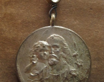 child of God ~ antique religious medal gemstone holiday necklace