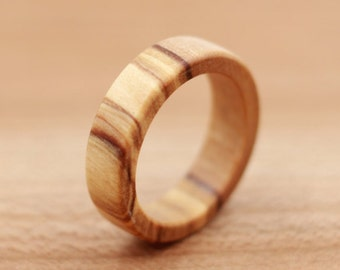 Olivewood Ring - Custom Wood Ring - Unique Wedding Ring - Wedding Ring - Wooden Ring - Mens Jewelry - 5 Year Anniversary