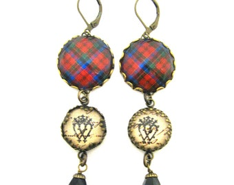 Scottish Tartan Jewelry - Ancient Romance Series - Robertson Clan Tartan Earrings w/Luckenbooth Charms