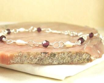 Garnet Bracelet, Pearl Bracelet, Red Bracelet, White Bracelet, Sterling Silver Bracelet, Wire Wrapped Bracelet, Silver Pearl Bracelet, Stone