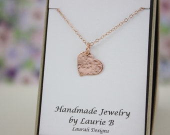 Heart Charm Necklace, Friendship Gift, Rose Gold, Bestie Gift, Rose Gold Heart, Thank you card, Pink Heart, Heart-Shaped