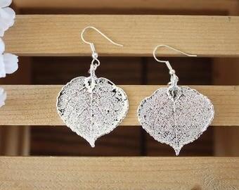 Silver Aspen Leaf Earrings, Real Leaf Earrings, Aspen Leaf, Sterling Silver Earrings, LESM188