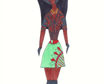 Emberá from Panama Girls Around The World series original ink illustration