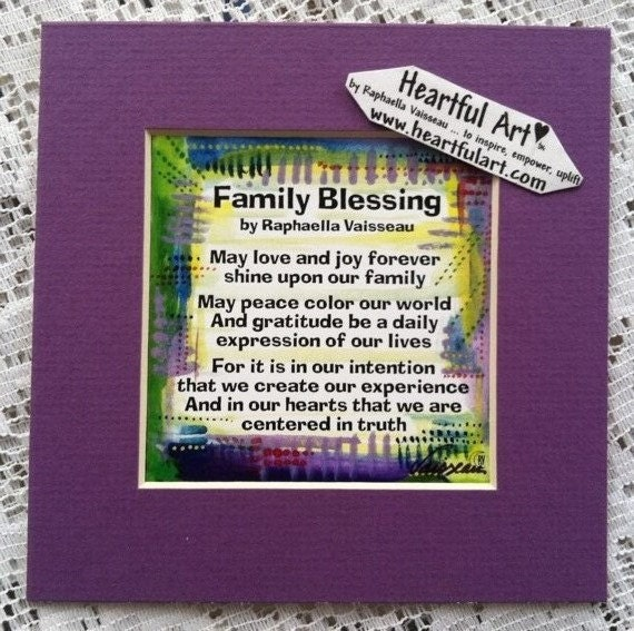 FAMILY BLESSING 5x5 Original Poetry Inspirational Quote