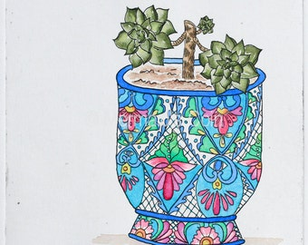 Succulent in ornate pot, pot plant - hand pulled original print with watercolour, dry point, collagraph