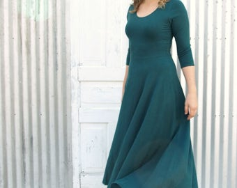 Elegant Full Length Hemp Dress with Organic Cotton & Lycra - 3/4 Sleeves, Full Skirt, Scoop Neck - Ethically Made to Order in the USA
