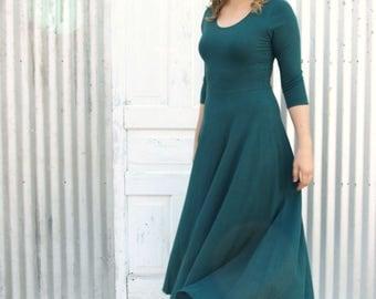 Elegant Full Length Hemp Dress - Organic Cotton & Lycra - Sleeves, Full Skirt, Scoop Neck - Ethically Made to Order in the USA