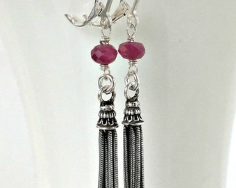 Sterling Silver Tassel Earrings, Ruby Gemstone Dangle earring, small drop