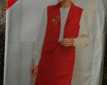 Vintage 80s Sewing Pattern Butterick See & Sew 5461 Mid Length Skirt and Vest