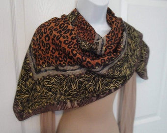 Vintage 34 by 35 inch sheer scarf w/ variety of animal print designs, Shades of brown, tan, gold, copper, Border print style, Hemmed edges